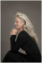 Pia Gronning- what a beautiful, mature woman at 61!!!! Grey long hair and all- love it!!!!