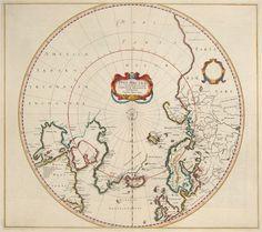 Antique Map Hondius North Pole / Arctic