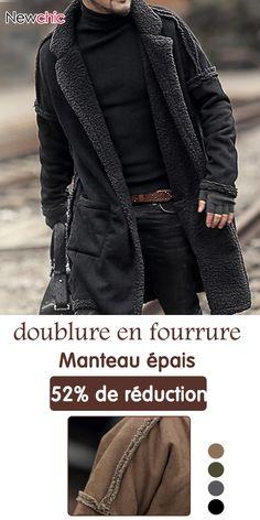 814dc1be50e67 Manteau épais à doublure en fourrure chaude pour homme Sac Homme, Vêtements  Homme, Doublure
