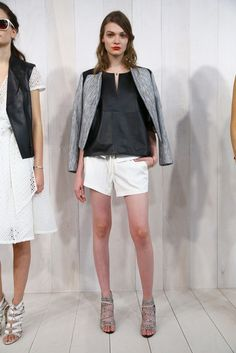 Minimalist chic in a silk black blouse and white shorts // Banana Republic Summer 2015