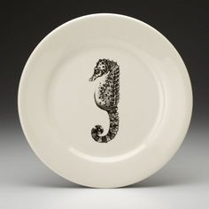 Laura Zindel Design - Dinner Plate: Seahorse White - Dinnerware Plates - Plates - Dinnerware - Types. I would use this for seafood.