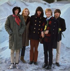 Buffalo Springfield, 1967 - L-R : Jim Messina, Stephen Stills, Neil Young, Dewey Martin and Ritchie Furay. The group took their name from the side of a steamroller, made by the Buffalo-Springfield Roller Company.