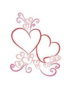 Embroidery Tutorials Color Outline Valentines 10 Machine Embroidery Designs on CD in 4 sizes - Embroidery Materials, Types Of Embroidery, Learn Embroidery, Machine Embroidery Patterns, Vintage Embroidery, Embroidery Stitches, Brother Embroidery, Embroidery Sampler, Simple Embroidery