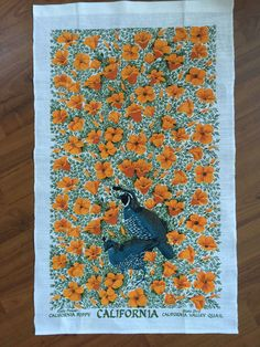 This is a linen towel with dark blue images on a cream color ground. Linen Towels, Tea Towels, California Poppy, Quail, Kitsch, Poppies, Graphic Art, Ebay, Vintage