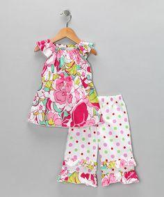 Look at this #zulilyfind! Pink & Green Floral Top & Ruffle Pants - Toddler & Girls #zulilyfinds