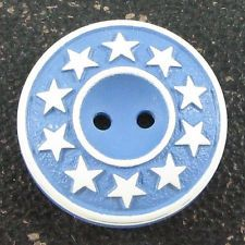 Vintage Painted & Buffed Button w/ Stars