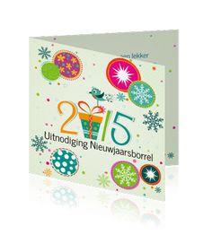 Een leuke uitnodiging voor de nieuwjaarsreceptie van 2015 bestellen. Echt een hippe en moderne kaart voor 2015.