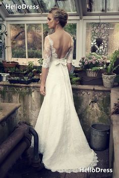Half Sleeves Open Back Sweep Train Lace Wedding Dresses with Removable Sash on Storenvy