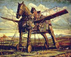 Andrei Vereshchagin - Trojan Horse (2003, oil on canvas, 80x110cm)