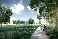 Riverside Zuchwil KCAP Architects&Planners | 2016 Project website: http://www.rendertaxi.de/en/references/projects/01294.riverside-zuchwil.html #industry #landscape #living #mixeduse #office #photomontage #urbanplanning