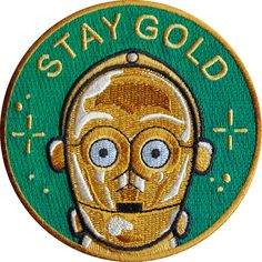 Stay Gold is a Star Wars inspired 9 cm embroidered patch with merrowed edge and iron-on backing. Made in Spain. Follow the iron on patch...