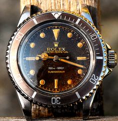 Incredibly beautiful vintage 1959 Rolex Submariner 5512 Tropical Dial. So amazing! On wish list. ⓀⒾⓃⒼⓈⓉⓊⒹⒾⓄⓌⓄⓇⓀⓈ▻