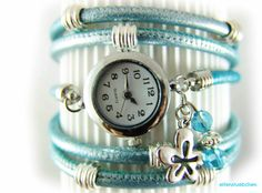 Wrap women watch turquoise metallic leather silber - wrist watch - layered watch - watch handmade on Etsy, €38,90