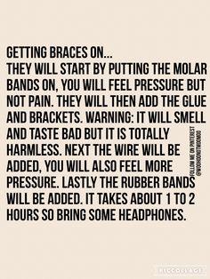 Mine took roughly less than 45 minutes to put on, but I definitely recommend bri… – Apocalypse Now And Then Le mien a pris environ moins de 45 minutes à mettre, mais je recommande vraiment bri … Dental Braces, Teeth Braces, Dental Care, Braces Problems, Braces Retainer, Misaligned Teeth, Apocalypse Now, Braces Tips, Getting Braces