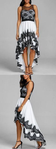 Cascading High Low Hem Evening Dress Vintage Dresses Online, Vintage Party Dresses, Prom Party Dresses, Ball Dresses, Cute Dresses, Beautiful Dresses, Women's Dresses, Semi Formal Dresses, Black Wedding Dresses