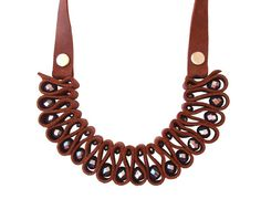Brown Genuine Leather Bib Necklace with Gray Crystal, Unique Jewelry, Statement Necklace Geek Jewelry, Gothic Jewelry, Gemstone Jewelry, Unique Jewelry, Jewelry Bracelets, Leather Necklace, Leather Jewelry, Fashion Bracelets, Fashion Jewelry