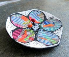 Floral polymer clay rainbow brooch