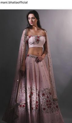Dusty pink lehenga, perfect for a wedding reception Sabhyasachi Lehenga, Lehenga Crop Top, Pink Lehenga, Ethnic Fashion, Modern Fashion, Indian Fashion, Indian Groom Wear, Indian Wear, Pakistani Outfits