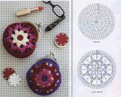 from FB - Tutorial Crochet Crochet Wallet, Crochet Coin Purse, Crochet Case, Crochet Diagram, Crochet Motif, Crochet Patterns, Tutorial Crochet, Coin Purse Pattern, Purse Patterns