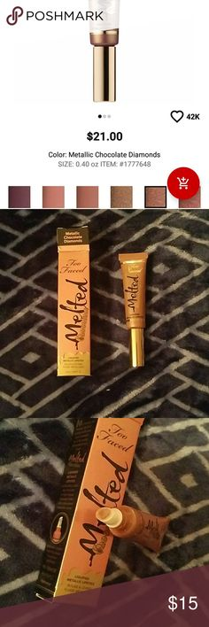 Too Faced melted chocolate lipstick Too Faced melted chocolate metallic lipstick. In the shade metallic chocolate diamonds. Only swatched once and sanitized after. Comes with box. Sephora Makeup Lipstick