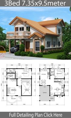 Home Design Plan 7 with 3 Bedrooms Home Ideas is part of House design - Home Design Plan 7 with 3 Bedrooms 2 Storey House Design, House Front Design, Small House Design, Modern House Design, Bedroom House Plans, Dream House Plans, Small House Plans, House Floor Plans, Bungalow Haus Design