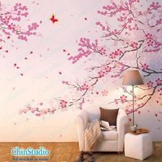 Wow, this one is gorgeous! Cherry blossom tree wall decals with butterfly wall by ChinStudio, $48.00