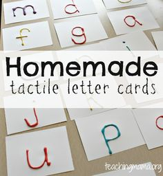 Homemade Tactile Letter Cards from Teaching Mama. Both sensory and learning activity Preschool Literacy, Preschool Letters, Preschool Books, Kindergarten Classroom, Alphabet Sounds, Letter Sounds, Alphabet Activities, Learning Activities, Sensory Activities