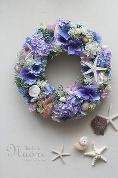 貝殻と海の星のリース 雨音ブルー  Shell wreath  Starfish Hydrangea Sea wedding Blue Welcome wreath  Mermaid
