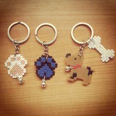 Dog keyrings hama mini beads by luciamouriz
