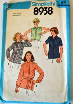 Vintage Sewing Pattern 70's Simplicity 8938 Shirt with Belt in Half Sizes  Size 16 1/2 Bust 39 Complete Uncut by GoofingOffSewing on Etsy