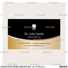 Business cards for dentists business cards for dental clinics dental clinic modern black gold appointment business card reheart Image collections