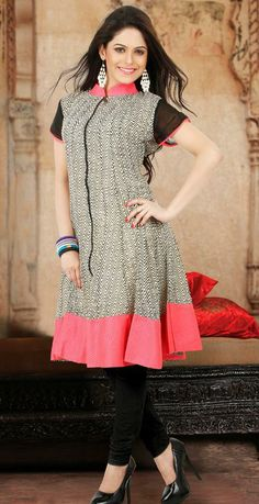 USD 79.3 Black Faux Georgette Printed Designer Kurti 27106