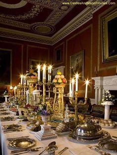 The dining room at Attingham Park, set for a Regency-era dinner. Attingham Park, near Atcham, Shropshire, England - www.castlesandmanorhouses.com