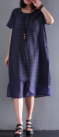Summer stylish linen dress striped short sleeve maxi dress loose baggy sundress