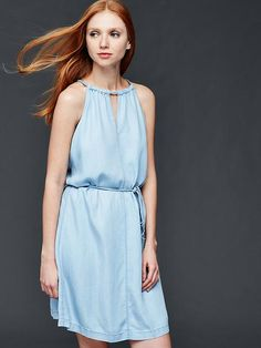 1969 Tencel® denim braid halter dress | Gap