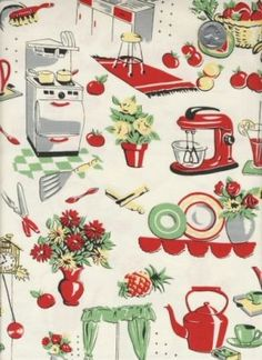 Michael Miller -  50's Kitchen Vintage Inspired Housewife Appliance Apron Fabric - By The Yard