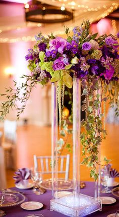 Centerpiece tall - purple and coral
