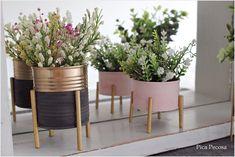 Pica Pecosa: Cómo hacer macetas con soportes, reciclando botes y palillos de comida china Vintage Diy, Ideas Para, Planting Flowers, Home Furniture, Cactus, Planter Pots, Patio, Creative, Green