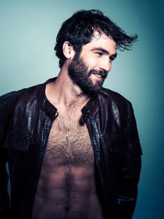 Hairy and smiling.  Mens fashion and trend.