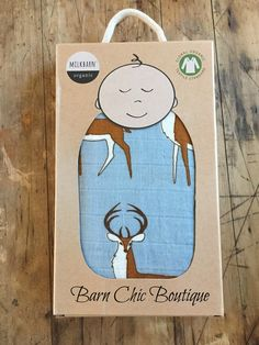 MilkBarn Baby Organic Muslin Swaddle Blanket - Blue Buck