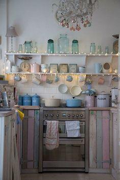 Pastel kitchen, love the lights