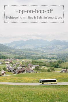Vorarlberg lässt sich im Hop-on-Hop-Off-Prinzip bequem entdecken: Auf eigene Faust geht es mit der Bahn und den einheitlich gestalteten Landbuslinien kreuz und quer im Stundentakt durchs Land: Vom Bodensee in die hohen Berge der Silvretta ganz im Süden des Landes, auf einer Vorarlberg-Rundfahrt einmal nach Lech am Arlberg, den Hochtannberg und zurück, durch den malerischen Bregenzerwald oder zum Lünersee im Brandnertal. #visitvorarlberg #myvorarlberg Bus Und Bahn, Country Roads, Mountains, Nature, Travel, Day Trips, Viajes, Naturaleza, Destinations