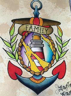 Traditional nautical tattoo flash