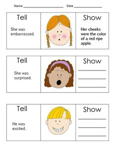 Show, Don't tell - part of fun Realistic Fiction writing unit
