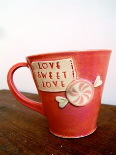 Handmade Stoneware Hot Pink Valentine Mug Love Good combination of hand building and throwing