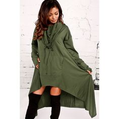 Army Green Cowl Neck Hooded Kangaroo Pocket Asymmetric Sweatshirt... (1.665 RUB) ❤ liked on Polyvore featuring dresses, hooded dress, hooded sweatshirt dress, army green dress, long-sleeve shift dresses and green long sleeve dress