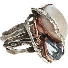 Sandra Dini  Large Natural Pearl & Aquamarine Ring