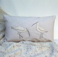 Cushion Curlew Handmade Nature Wildlife Seabird Coastal Fathers Day Cushion Curlew Handmade Freehand Machine Embroidered Linen Look Cotton Patchwork Quilt Patterns, Crazy Patchwork, Patchwork Fabric, Patchwork Designs, Advanced Embroidery, Free Motion Embroidery, Applique Cushions, Freehand Machine Embroidery, Silk Ribbon Embroidery