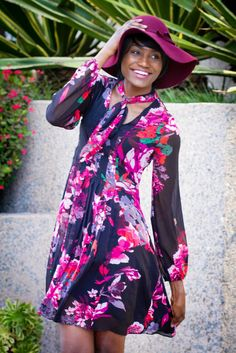 Floral Dress, Floppy Hat and Boots
