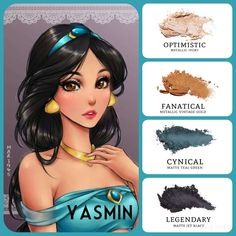#yasmin inspired #eyemakeup: #metallic ivory (optimistic) and vintage gold (fanatical), paired with #matte teal green (cynical) and jet black (legendary). Build your own quad at www.taniaslashes.com #younique #princess #cartoon #compacteyeshadow #pressedeyeshadow #taniaslashes